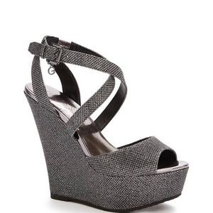 GUESS silver sparkle wedges